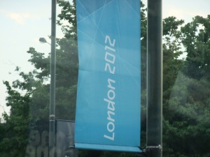 Olympic lamp post sign in Golders Green
