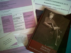 Paperwork and book from the Iris Murdoch Conference