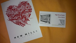 High Street Books, New Mills, postcard and business card