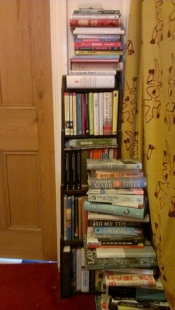 Books by the bathroom door