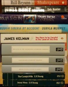 Christmas book pile