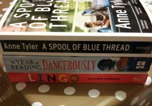 Three books in a pile
