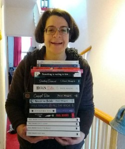Liz with almost all her Paul Magrs books
