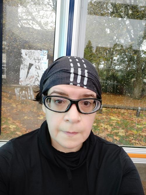 wet runner in bus shelter