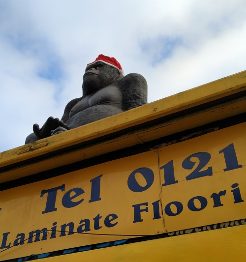 Gorilla in a santa hat