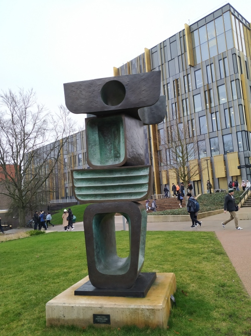 Barbara Hepworth's Ancestor II in front of the new library