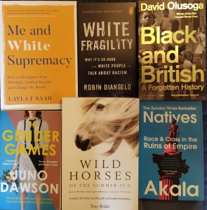 Six books from Foyles, all titles and authors in the text